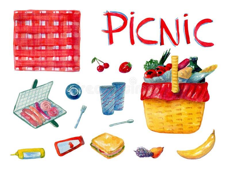 Insieme disegnato a mano dell'acquerello compreso alimento differente per la prima colazione sul picnic su fondo bianco illustrazione di stock