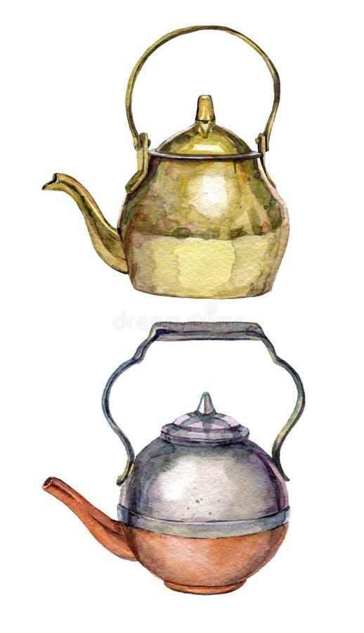 Insieme disegnato a mano dell'acquerello delle teiere d'annata su fondo bianco royalty illustrazione gratis