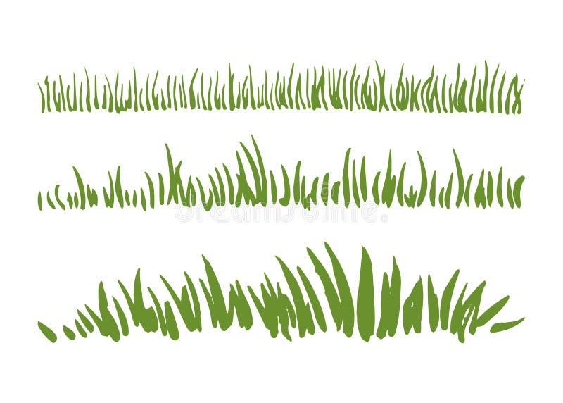 Insieme disegnato a mano dell'erba dell'inchiostro isolato su fondo bianco Confini orizzontali illustrazione vettoriale