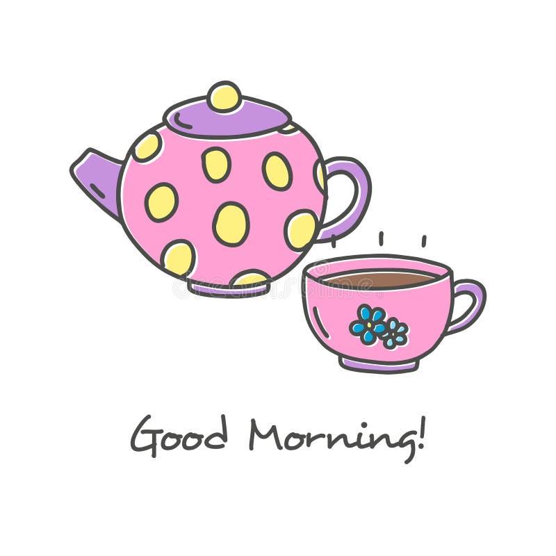 Insieme disegnato a mano dell'icona del tè illustrazione vettoriale