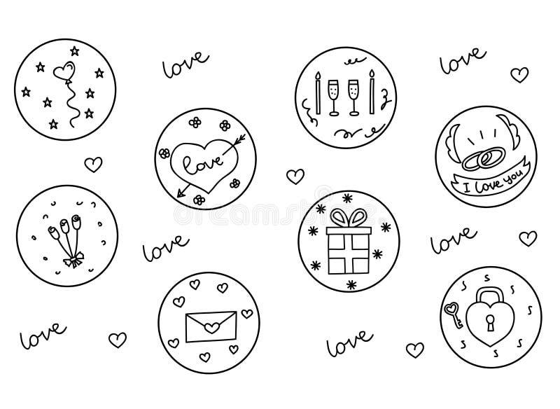 Insieme disegnato a mano dell'icona di scarabocchi dei cuori e di amore, illustrazione royalty illustrazione gratis