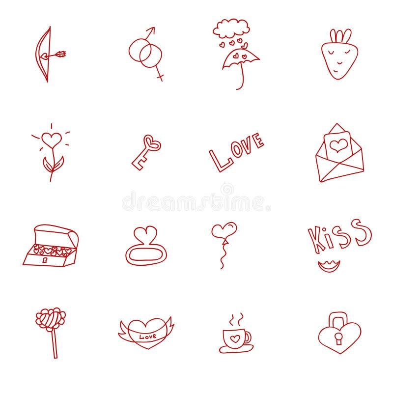 Insieme disegnato a mano dell'icona di scarabocchi dei cuori e di amore, illustrazione illustrazione di stock
