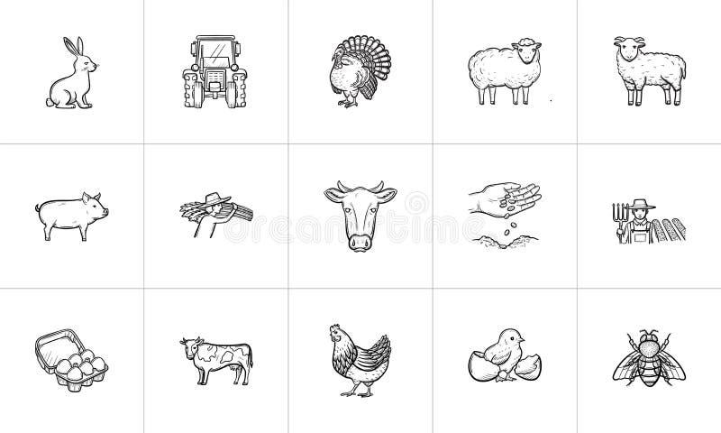 Insieme disegnato a mano dell'icona di schizzo degli animali da allevamento illustrazione vettoriale