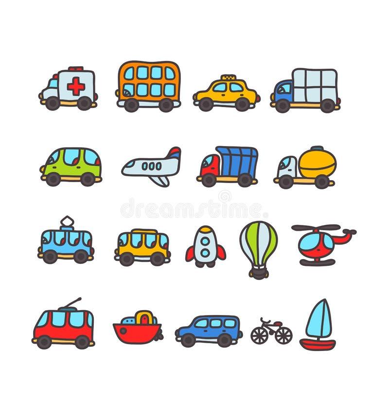 Insieme disegnato a mano dell'icona di trasporto del fumetto illustrazione vettoriale