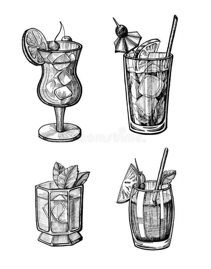 Insieme disegnato a mano dell'illustrazione del cocktail dell'alcool illustrazione vettoriale