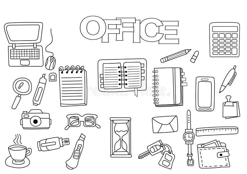 Insieme disegnato a mano dell'ufficio Modello del libro da colorare Scarabocchio del profilo illustrazione vettoriale