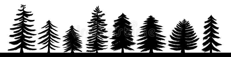Insieme disegnato a mano della siluetta del pino Vario iso conifero royalty illustrazione gratis