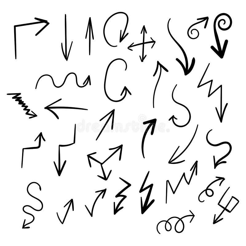 Insieme disegnato a mano delle frecce illustrazione vettoriale