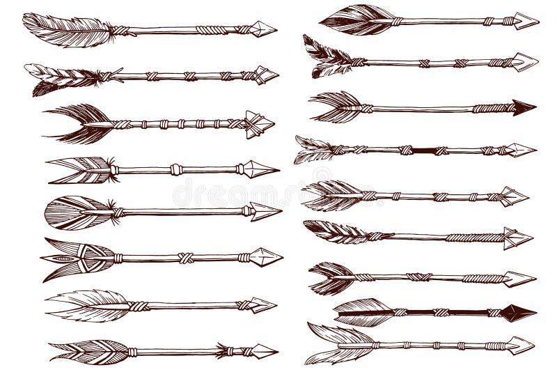Insieme disegnato a mano delle frecce etniche fotografia stock