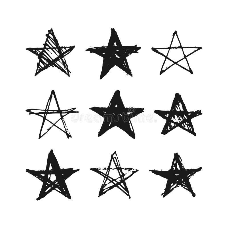 Insieme disegnato a mano delle stelle di lerciume illustrazione vettoriale