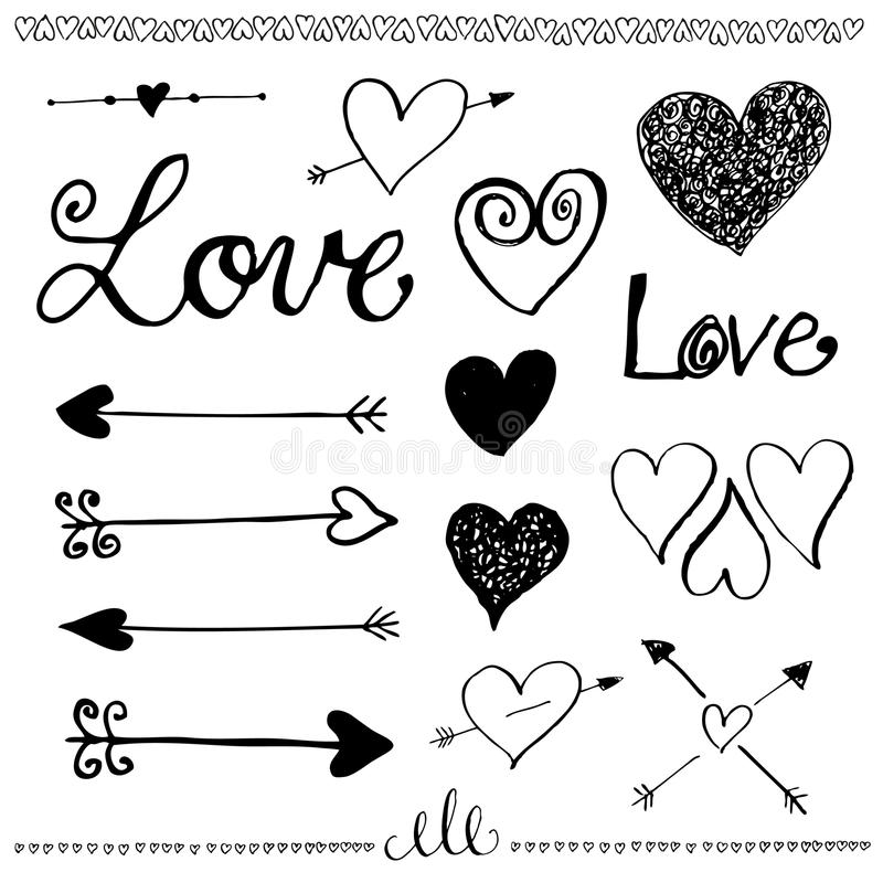 Insieme disegnato a mano di amore di scarabocchio dell'inchiostro Cuore e freccia illustrazione vettoriale
