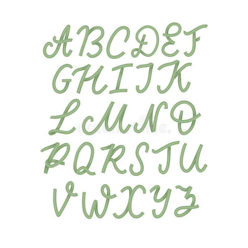 Insieme disegnato a mano di carattere isolato su bianco Caratteri dipinti spazzola: lettera minuscola e maiuscola fonte di logo A royalty illustrazione gratis