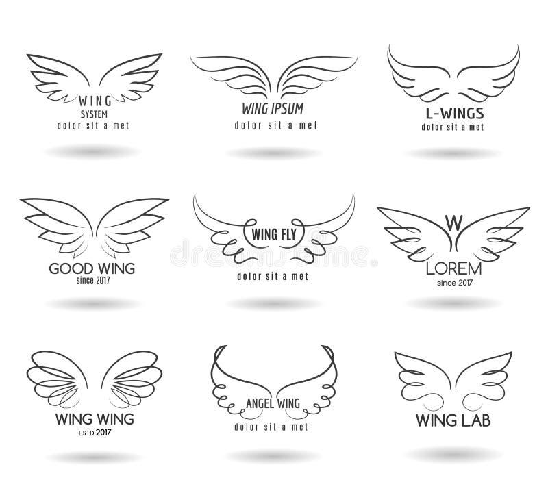 Insieme disegnato a mano di logo delle ali Icone alate scarabocchio di vettore royalty illustrazione gratis