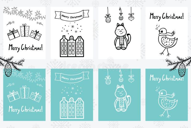 Insieme disegnato a mano di Premade delle carte del nuovo anno e di Natale con winte royalty illustrazione gratis