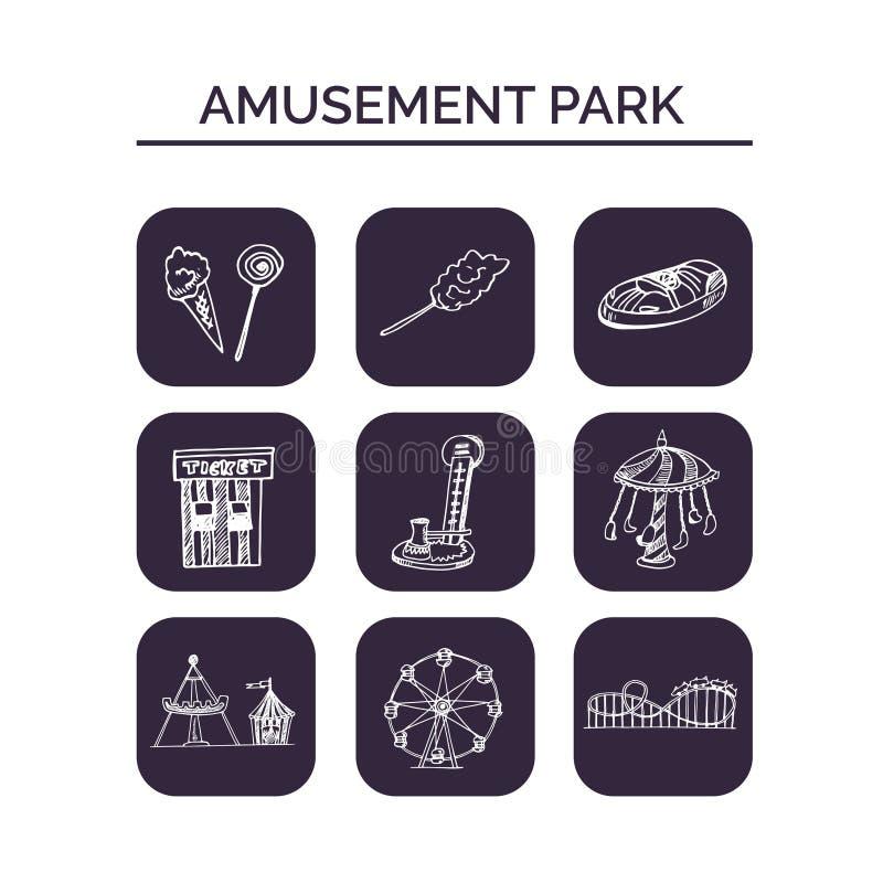 Insieme disegnato a mano di scarabocchio del parco di divertimenti abbozzi Illustrazione di vettore per il prodotto dei pacchetti illustrazione vettoriale