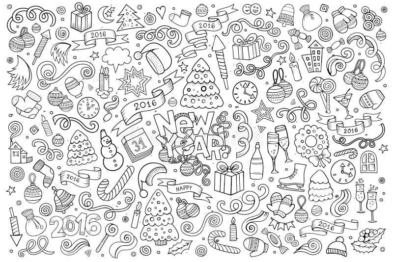 Insieme disegnato a mano di scarabocchio di vettore impreciso del nuovo anno illustrazione di stock