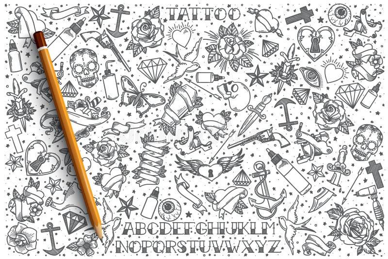 Insieme disegnato a mano di scarabocchio di vettore del tatuaggio illustrazione di stock