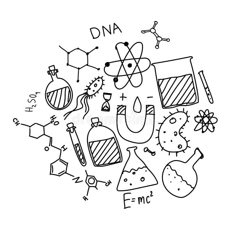Insieme disegnato a mano di scarabocchio di vettore del tema di scienza fotografia stock libera da diritti