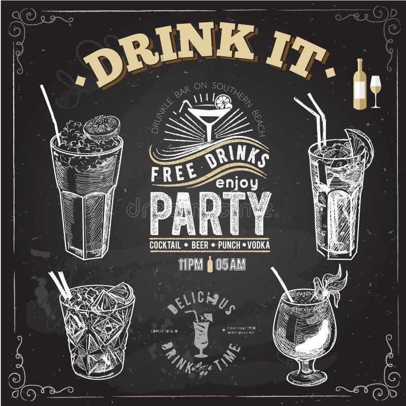 Insieme disegnato a mano di schizzo dei cocktail alcolici Illustrazione di vettore royalty illustrazione gratis