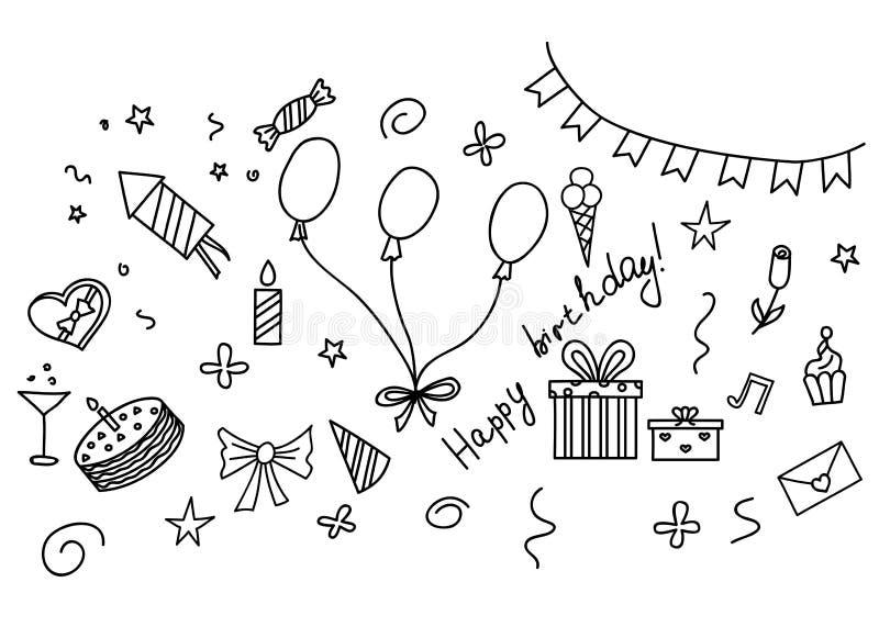 Insieme disegnato a mano di schizzo di buon compleanno con gli attributi del partito royalty illustrazione gratis