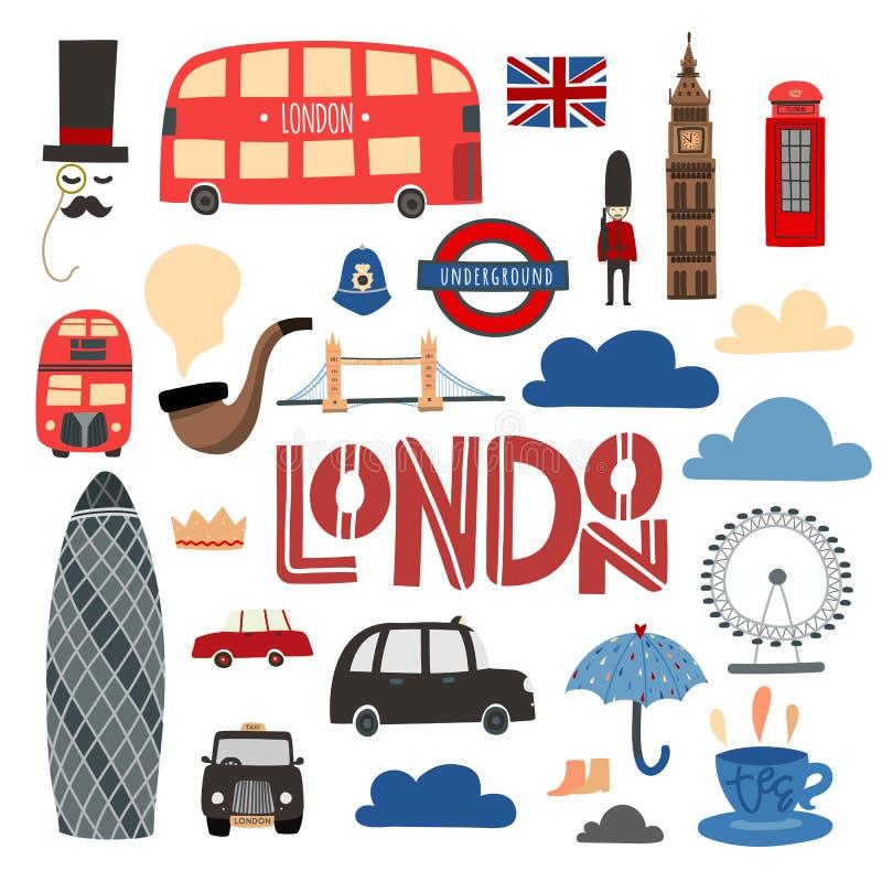Insieme disegnato a mano di simboli di Londra Cabina, bus, ponte della torre, occhio ecc di Londra royalty illustrazione gratis