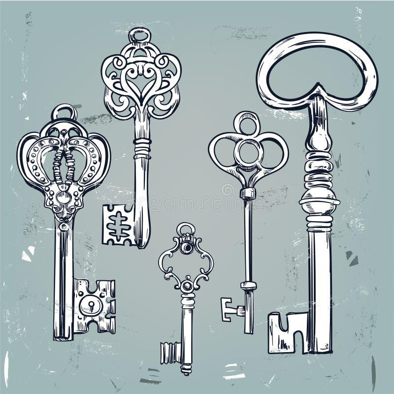 Insieme disegnato a mano di varie chiavi d'annata illustrazione vettoriale