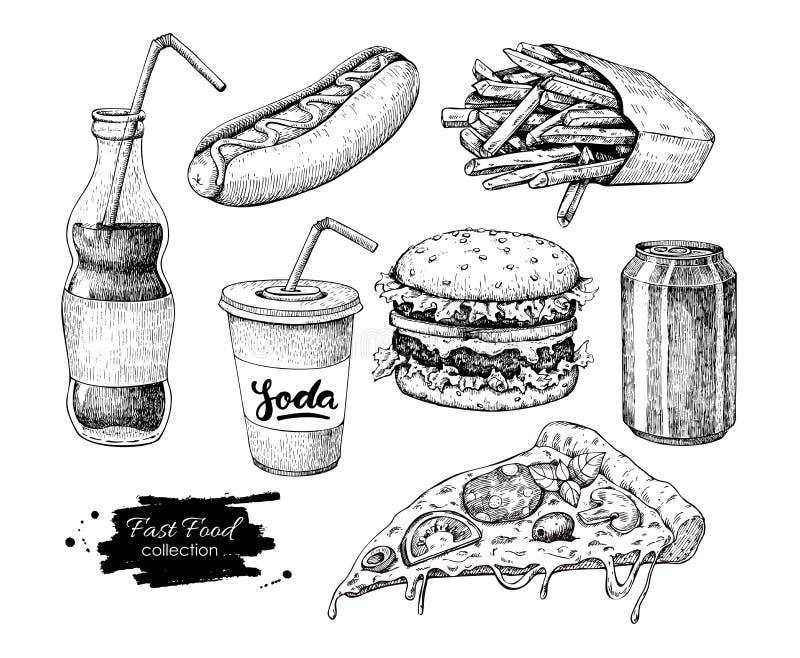 Insieme disegnato a mano di vettore degli alimenti a rapida preparazione Illust inciso degli alimenti industriali di stile illustrazione vettoriale