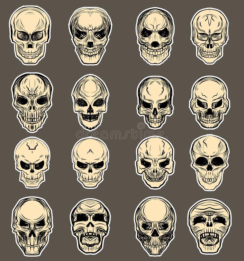 Insieme disegnato a mano di vettore del cranio Tatuaggio del cranio dell'autoadesivo tatuaggio del cranio di stile di schizzo illustrazione vettoriale