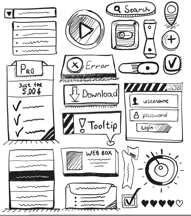 Insieme disegnato a mano di vettore del disegno dell'interfaccia utente illustrazione vettoriale