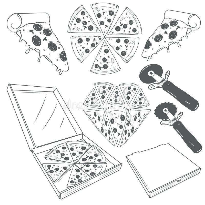 Insieme disegnato a mano di vettore delle fette della pizza Etichette della pizza, segni, simboli, icone ed elementi di progettaz royalty illustrazione gratis