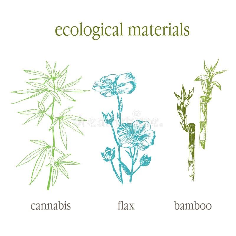 Insieme disegnato a mano di vettore delle foglie della cannabis, del bambù e del lino di Eco un eco di 100 per cento Schizzo bota illustrazione vettoriale