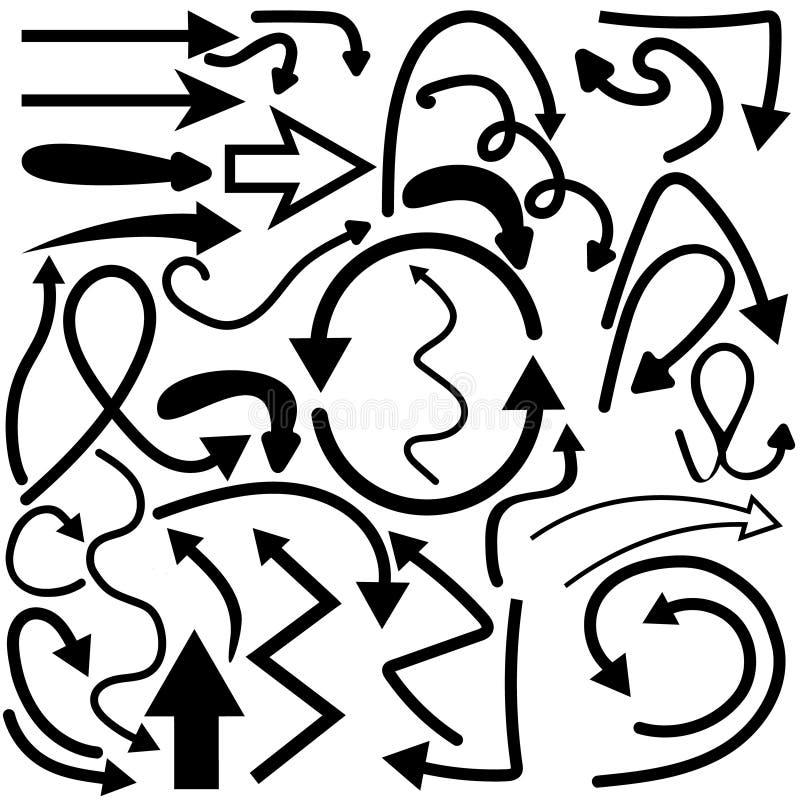 Insieme disegnato a mano di vettore delle frecce di scarabocchio royalty illustrazione gratis