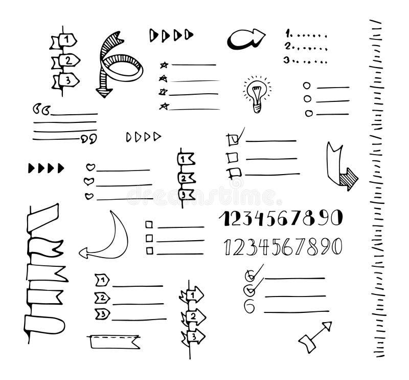 Insieme disegnato a mano di vettore delle insegne illustrazione di stock