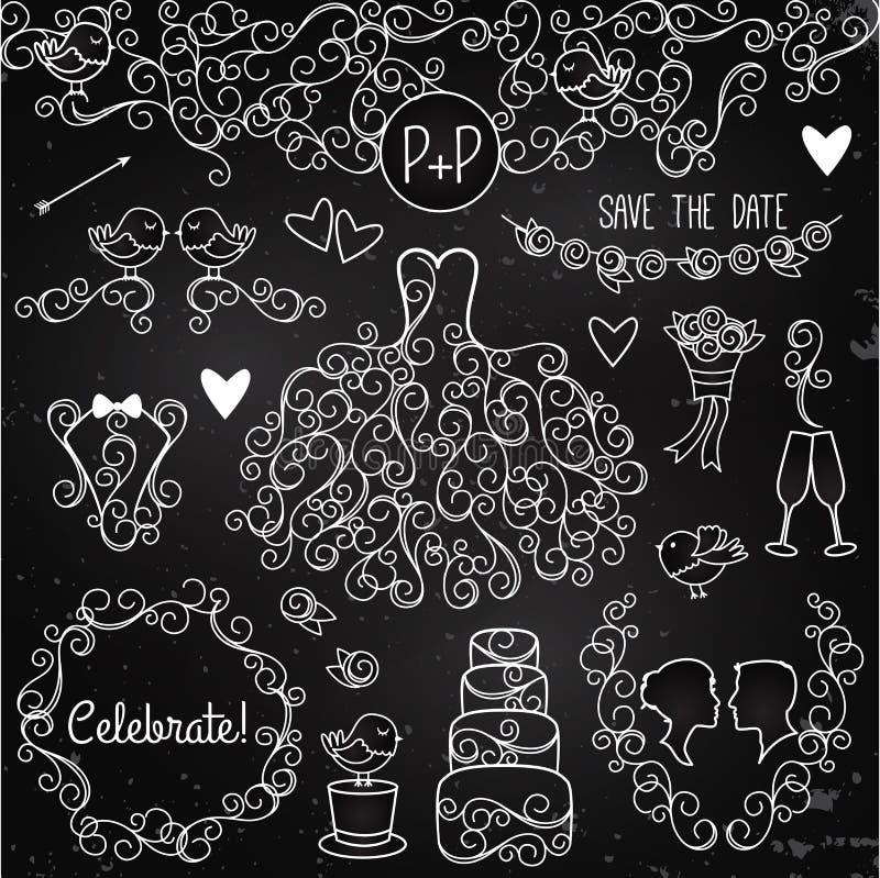 Insieme disegnato a mano di vettore di nozze della lavagna con il vestito, smoking royalty illustrazione gratis