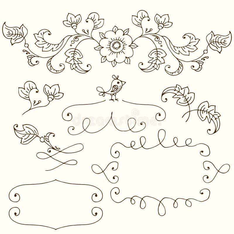 Insieme disegnato a mano per skrapbooks, per una partecipazione di nozze, insegne royalty illustrazione gratis