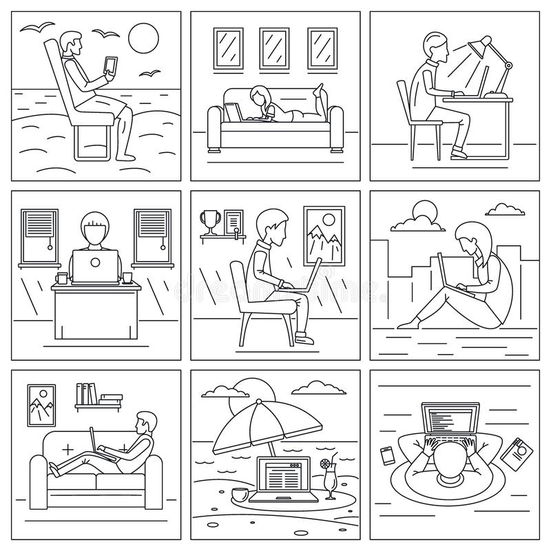Insieme distante dell'insegna del lavoro del computer, stile del profilo illustrazione di stock