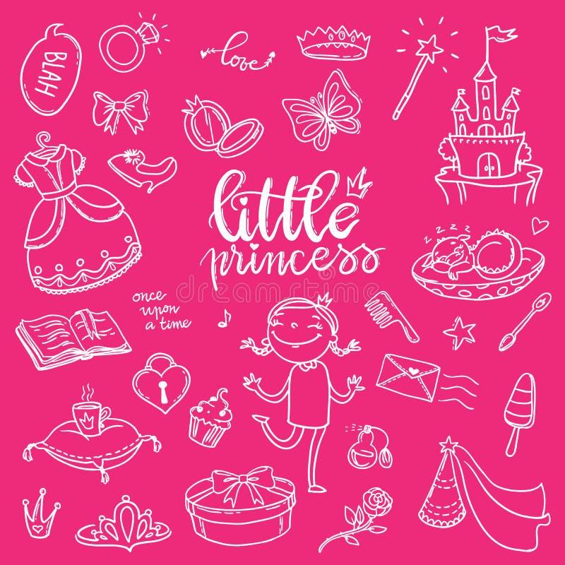 Insieme divertente del grafico di piccola principessa Ragazze vestito, farfalla, mirro illustrazione di stock