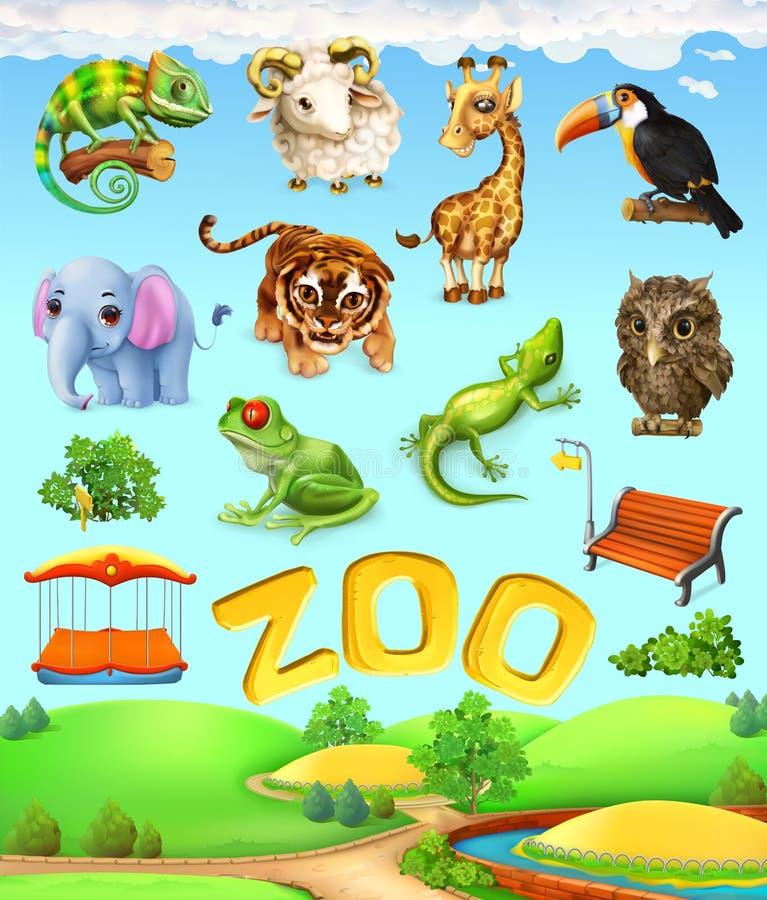 Insieme divertente dell'animale Elefante, giraffa, tigre, camaleonte, tucano, gufo, pecore e rana Insieme dell'icona dello zoo illustrazione vettoriale