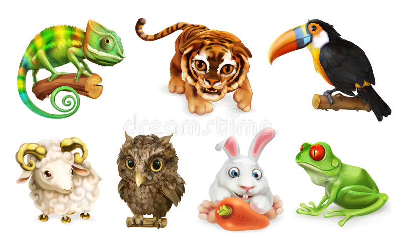 Insieme divertente dell'animale icona di vettore 3d illustrazione di stock