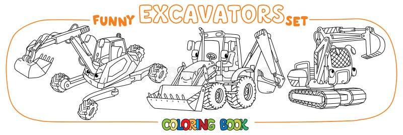 Insieme divertente dell'escavatore della costruzione Libro di coloritura royalty illustrazione gratis
