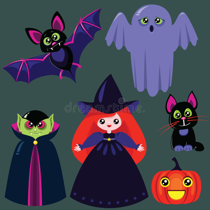 Insieme Divertente Di Halloween Del Fumetto Fotografia Stock Libera da Diritti