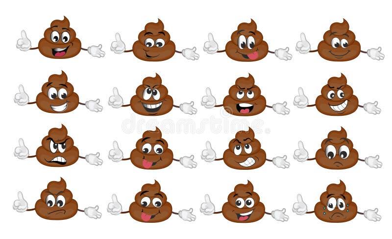 Insieme divertente sveglio dell'emoticon della poppa Illustrazione illustrazione di stock