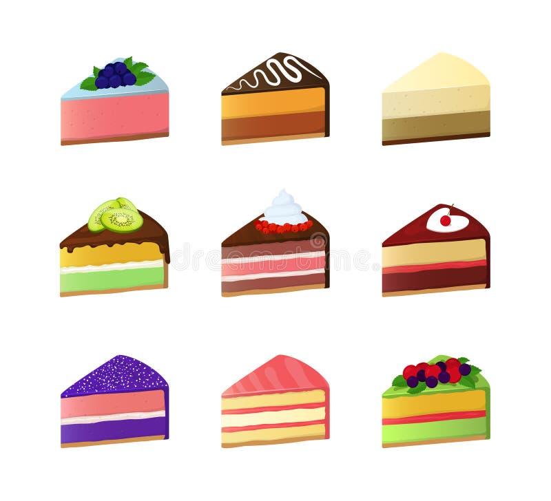 Insieme dolce dell'icona della fetta del dessert del dolce di colore del fumetto Vettore illustrazione di stock