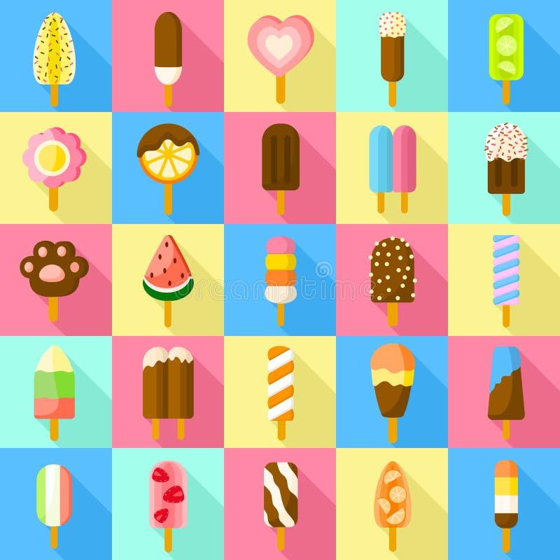 Insieme dolce delle icone del ghiacciolo, stile piano illustrazione vettoriale