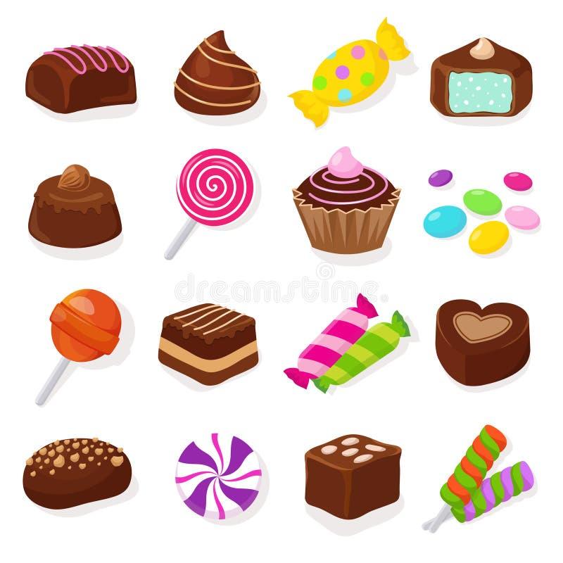 Insieme dolce di vettore delle caramelle e delle lecca-lecca del cioccolato nero del fumetto illustrazione vettoriale