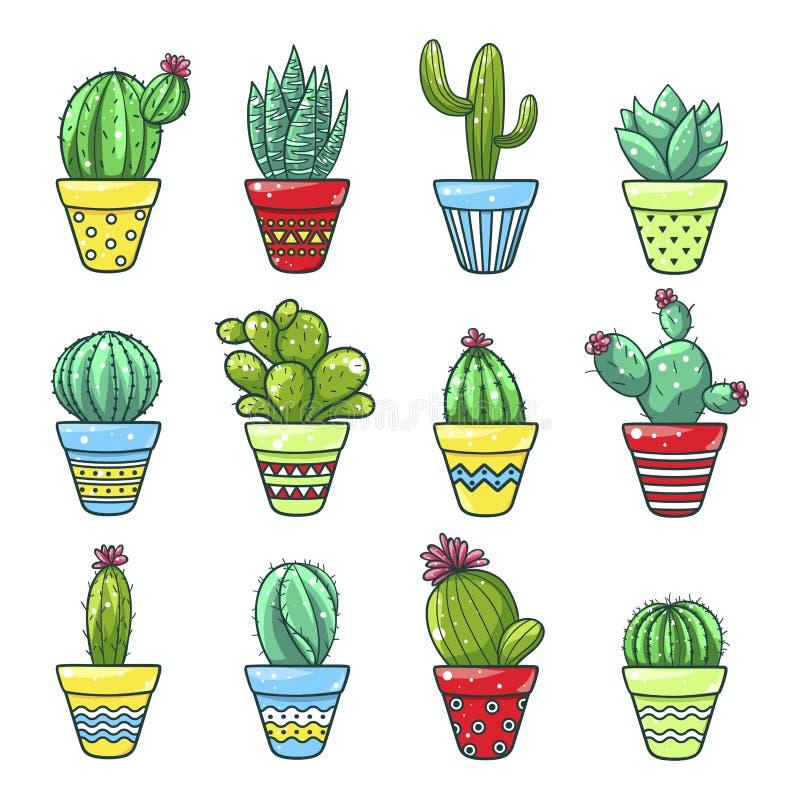 Insieme domestico del cactus illustrazione di stock