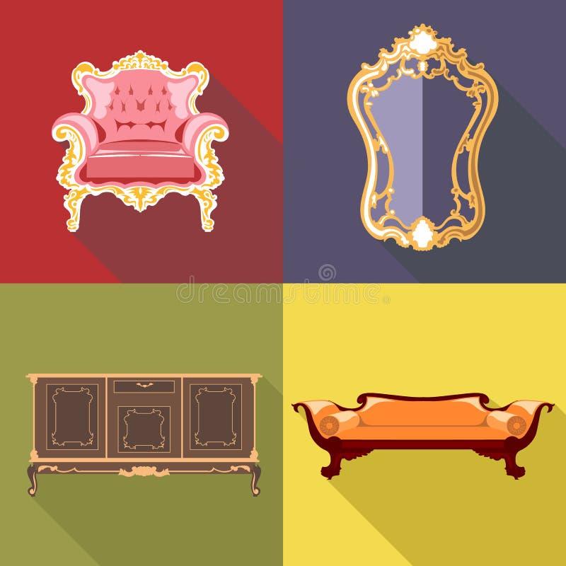Insieme domestico dell'icona della decorazione del salone, stile piano royalty illustrazione gratis