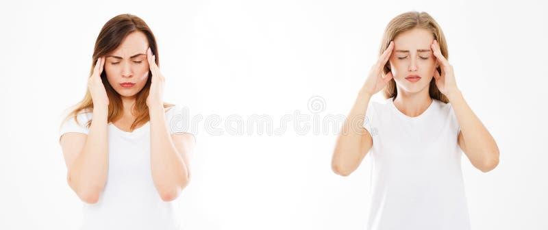 Insieme, donne di sofferenza del collage isolate su fondo bianco, l'emicrania della donna, emicrania femminile La medicina modern immagine stock