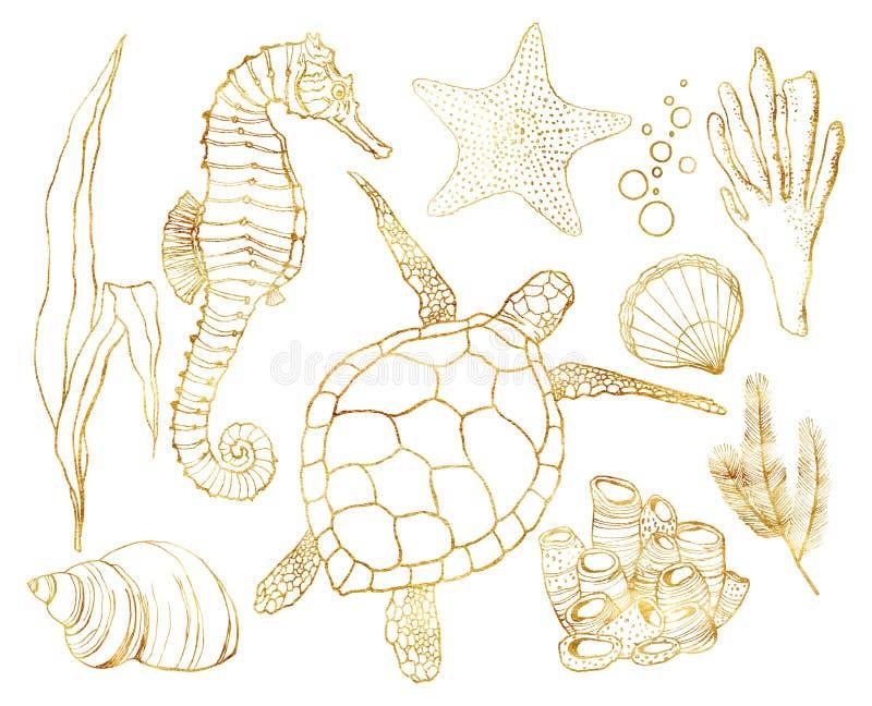 Insieme dorato dell'acquerello con gli animali subacquei e le piante della barriera corallina Tartaruga dipinta a mano, ippocampo illustrazione di stock