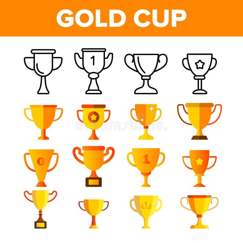 Insieme dorato delle icone di colore di vettore della tazza del trofeo illustrazione di stock